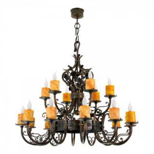 Casa Padrino Barock Schmiedeeisen Kronleuchter 18-Flammig Hängeleuchte Lüster Hängelampe Deckenlampe - Burg Schloss Leuchter