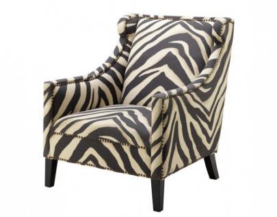 Casa Padrino Luxus Art Deco Zebra Sessel - Luxus Zebra Möbel