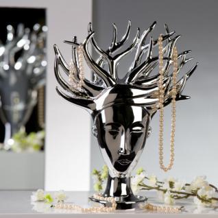 Designer Schmuckhalterbaum silber aus Polyresin, Höhe 34, 5 cm, Breite 27, 95 cm - Schmuckständer, Schmuckbaum