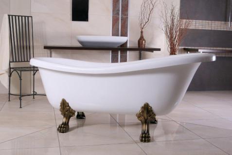 Freistehende Luxus Badewanne Jugendstil Roma Weiß/Altgold 1695mm - Barock Badezimmer - Retro Antik Badewanne
