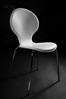 Designer Stuhl aus hochwertigem Kunstleder und verchromtem Stahl Weiß, Esszimmerstuhl, moderner Wohnzimmerstuhl