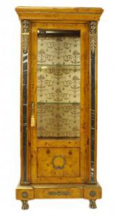 Casa Padrino Empire Vitrine Vogelaugenahorn 180 x 80 cm - Handgefertigt aus Massivholz - Barock Vitrinenschrank