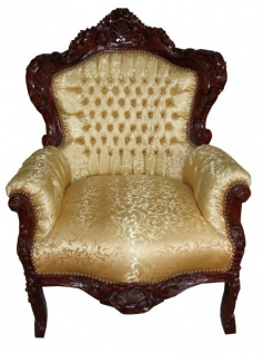Casa Padrino Barock Sessel King Gold Muster / Brown Möbel Antik Stil