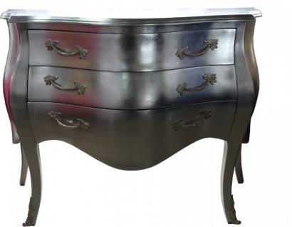 Casa Padrino Barock Kommode Silber - Handgefertigt aus Massivholz - Limited Edition