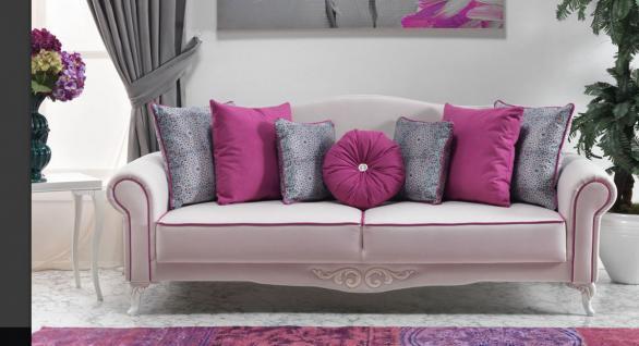 Casa Padrino Neo Barock 3er Sofa Milano Weiß / Pink - Hotel Möbel - Luxury Collection