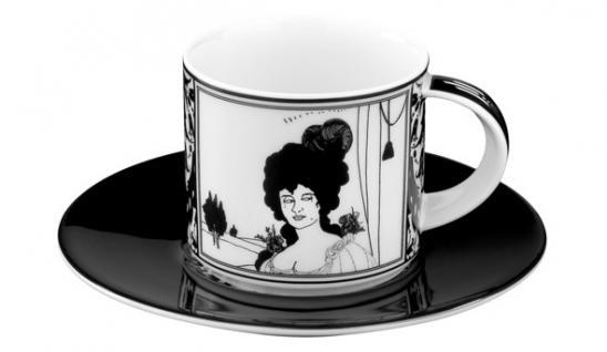 Handgearbeitete Moccatasse aus Porzellan mit einem Motiv von Audrey Beardsley Portrait 0, 09 Ltr. - feinste Qualität aus der Tettau Porzellanfabrik - wunderschöne Espressotasse