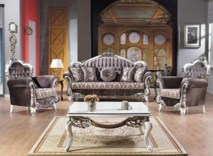 Casa Padrino Barock Neoklassik Sofa Set - 3er Sofa, 2 Sessel und Couchtisch - dunkelgrau/creme/silber - Luxus Kollektion aus Italien