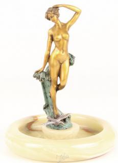 Casa Padrino Luxus Jugendstil Onyx Aschenbecher mit Bronzefigur Frauenakt Mod-X2