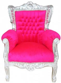 Casa Padrino Barock Kinder Sessel Pink/ Silber- Barock Möbel