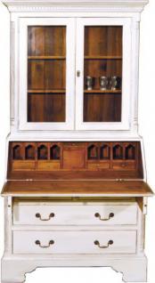 Casa Padrino Vintage Sekretär Schrank Antik Stil Weiss / Holzfarben H 210 x B 110 cm - Vitrine Regal Schrank Shabby Chic Hotel Möbel