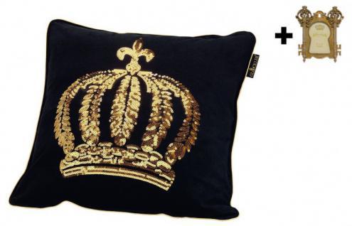 Harald Glööckler Designer Zierkissen 50 x 50 cm Krone mit Pailletten Schwarz/Gold + Casa Padrino Bilderrahmen - Kissen Wohnzimmer Dekokissen