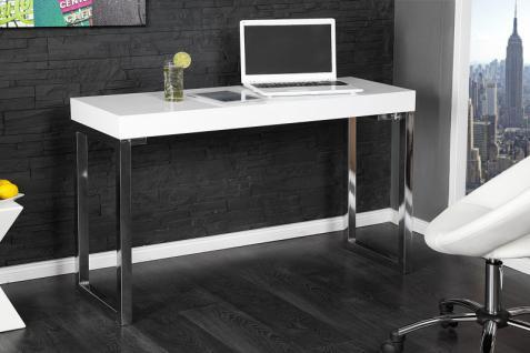 Casa Padrino Designer Laptoptisch Weiss Hochglanz - Schreibtisch - Sekretär Konsole - Computertisch