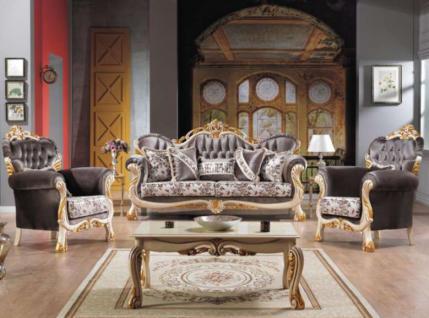 Casa Padrino Barock Neoklassik Sofa Set - 3er Sofa, 2 Sessel und Couchtisch - dunkelgrau/creme/gold - Luxus Kollektion aus Italien