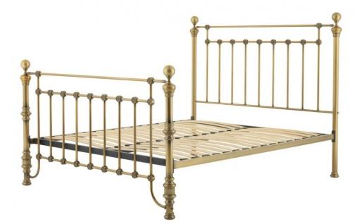 Casa Padrino Luxus Bett Antik Messing 187 x 225, 5 x H. 152, 5 cm - Designer Möbel