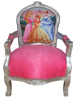 casa padrino barock kinder stuhl rosa silber prinzessin stuhl armlehnstuhl kaufen bei. Black Bedroom Furniture Sets. Home Design Ideas