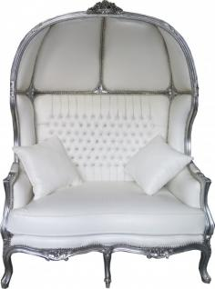 Casa Padrino Barock 2er Ballon Sofa Weiß Lederoptik / Silber - Wohnzimmer Couch Möbel Lounge Hochzeit