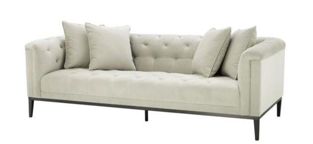 Casa Padrino Luxus Sofa Hellgrau Schwarz - Wohnzimmer Möbel