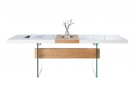 Moderner Design Esstisch Weiß Hochglanz / Eiche Furnier / Glas Ausziehbar 160 - 200 cm von Casa Padrino - Esszimmer Tisch