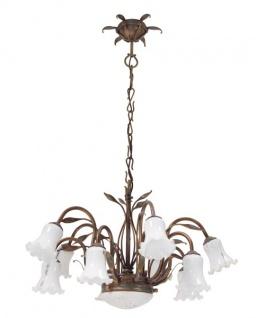 Casa Padrino Barock Schmiedeeisen Kronleuchter 10-Flammig Glas Hängeleuchte Lüster Hängelampe Deckenlampe Tulpe - Burg Schloss Leuchter