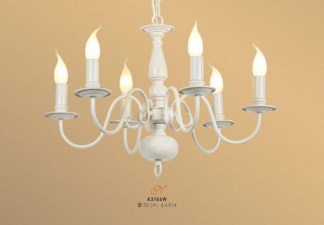 Elegante Pendelleuchte aus weißem Metall im Barock Stil, 6-Flammig, Weiß Leuchte Lampe
