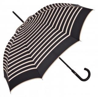 Jean Paul Gaultier Luxus Designer Damen Regenschirm in schwarz im Marine-Look mit Streifen in creme - Luxury Edition
