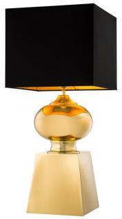 Casa Padrino Designer Tischleuchte gold mit schwarzem Lampenschirm - Luxus Kollektion