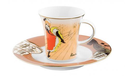 """Handgearbeitete Moccatasse aus Porzellan mit einem Motiv von T. Lautrec """" Jane Avril"""" 0, 09 Ltr. - feinste Qualität aus der Tettau Porzellanfabrik - wunderschöne Espressotasse"""