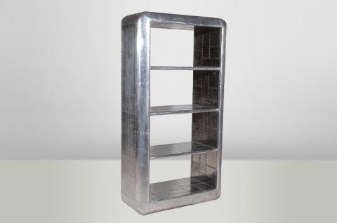 Casa Padrino Luxus Designer Bücherregal Aviator Bookcase Aluminium Flugzeug Flügel - Art Deco Vintage Regal Schrank