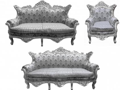 casa padrino barock wohnzimmer set grau muster silber 3er sofa 2er sofa 1 sessel kaufen bei. Black Bedroom Furniture Sets. Home Design Ideas