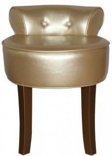 Casa Padrino Designer Hocker Boston Gold / Gold mit Bling Bling Steinen - Barock Schminktisch Stuhl