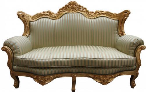 Casa Padrino Barock 2er Sofa Master Jadegrün /Beige / Gold - Wohnzimmer Couch Möbel Lounge