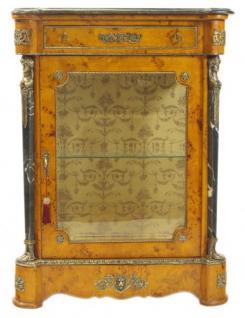 Casa Padrino Empire Vitrine Vogelaugenahorn - Handgefertigt aus Massivholz - Barock Vitrinenschrank