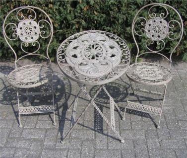Jugendstil Gartenmöbel Set French Gray - 1 Tisch, 2 Stühle - Eisen