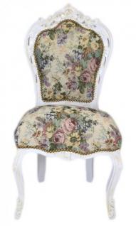 Casa Padrino Barock Esszimmer Stuhl Blumen Muster / Antik Weiss - Antik Stil Möbel