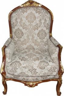 Casa Padrino Barock Salon Sessel Creme / Braun / Gold Mod1 - Möbel Antik Stil - Limited Edition