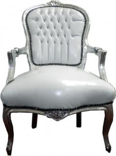 casa padrino barock salon stuhl wei silber lederoptik. Black Bedroom Furniture Sets. Home Design Ideas