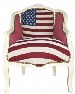 Casa Padrino Barock Damen Salon Sessel USA Design / Creme - Möbel Antik Stil- USA Flagge