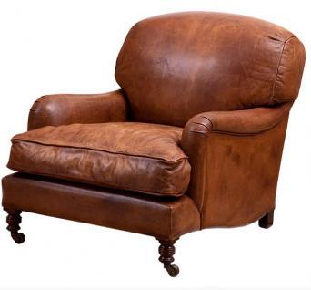Chesterfield Luxus Echt Leder Ohrensessel Vintage Leder Cigar Braun von Casa Padrino - Club Sessel