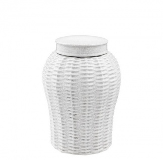 Casa Padrino Designer Keramik Vase mit Deckel Weiß Durchmesser 18 x H. 26 cm - Luxus Vase