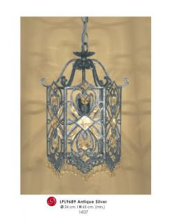 Orientalische Designer Pendelleuchte mit Kristall-Deco Antik Silber ModP2 Leuchte Lampe aus dem Hause Casa Padrino - Deckenleuchte Hängeleuchte
