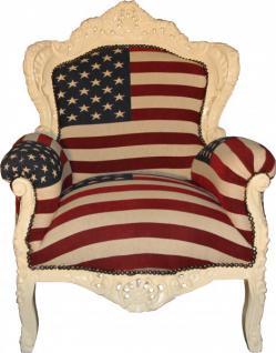 """Casa Padrino Barock Sessel """" King"""" USA / Creme - Möbel Antik Stil - Amerikanische Flagge Amerika"""