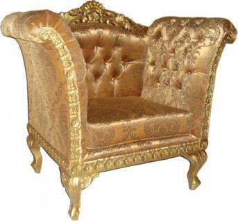 Casa Padrino Barock Lounge Sessel Gold Muster / Gold Möbel Antik Stil - Wohnzimmer Club Möbel Sessel