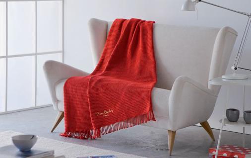 Pierre Cardin Designer Luxus Decke Samtweich 140 x 180 cm Schlafzimmer Wohnzimmer Tagesdecke Kuscheldecke Rot PA900