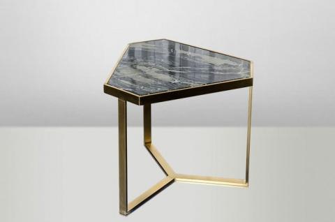 Casa Padrino Art Deco Beistelltisch Gold Metall / Marmor 55 x 47 cm- Jugendstil Tisch - Möbel Blumentisch