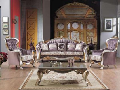 Casa Padrino Barock Neoklassik Sofa Set - 3er Sofa, 2 Sessel und Couchtisch - lila/silber/gold - Luxus Kollektion aus Italien