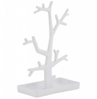 Casa Padrino Designer Schmuckhalterbaum groß weiß lackiert aus Aluminium, Höhe 32 cm, Breite 22 cm - Schmuckständer, Schmuckbaum