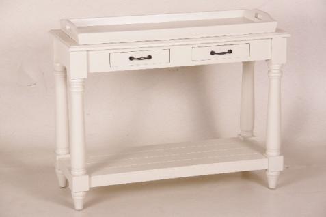 Casa Padrino Landhaus Stil Konsolen Tisch mit abnehmbaren Tablett weiß - Shabby Chic Möbel