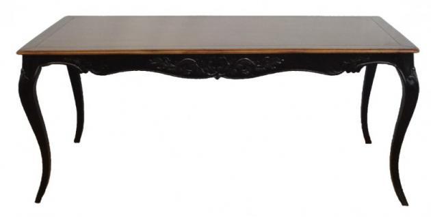Casa Padrino Barock Esstisch Antik Schwarz / Holzfarben Mahagony Holz 180 cm - Tisch