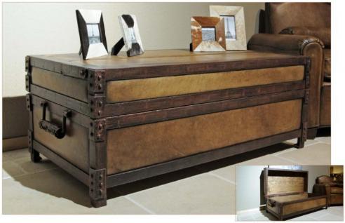 Casa Padrino Antik Stil Echtleder Truhe Braun L120 x B60 x H47 cm - Echt Leder Vintage Look