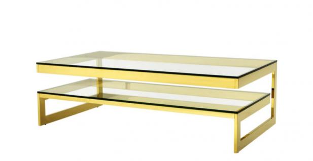 Casa Padrino Art Deco Luxus Couchtisch Gold Finish - Wohnzimmer Salon Tisch - Hotel Möbel